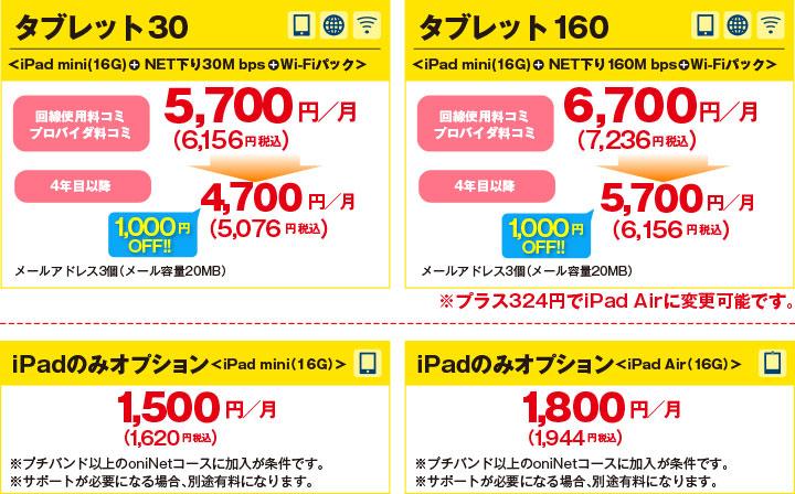 タブレット30 タブレット160 iPadのみオプション<iPad mini(16G)>oniNETをご利用中の方は プラス1,000円で iPadが持てる!